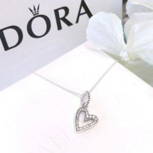 PANDORA Sparkling Freehand Heart Pendant Necklace
